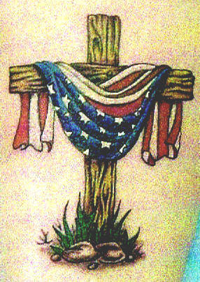 Cross-Wooden-with-Draped-American-Flag