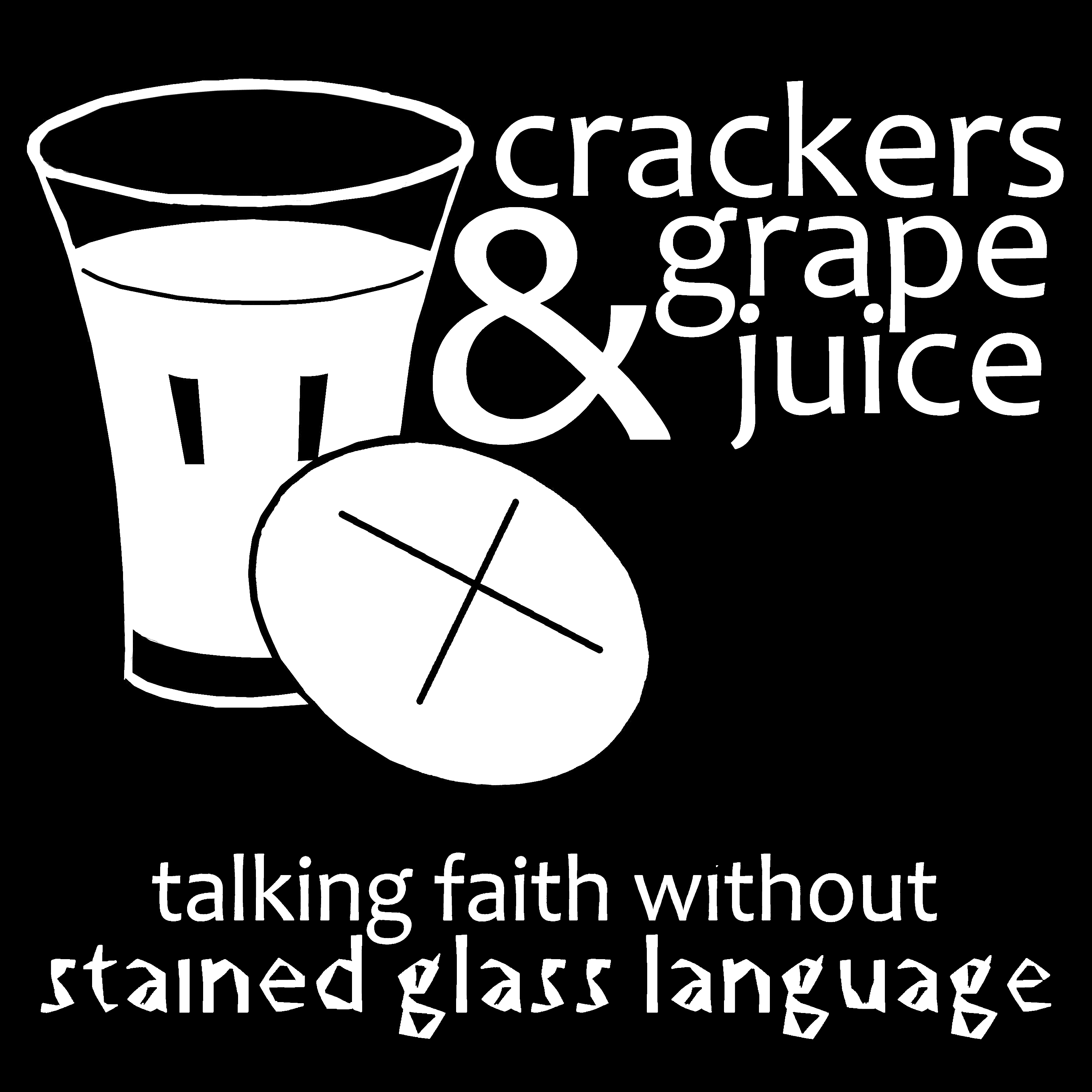 Crackers & Grape Juice Silhouette Tagline Inverted